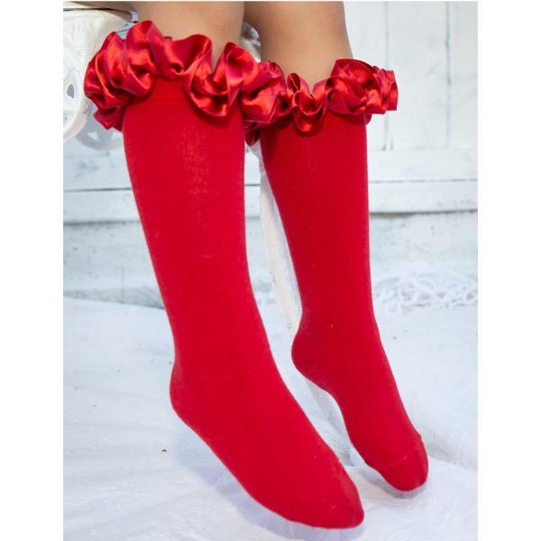 Caramelo Kids Satin Knee High Ruffle Socks, Red