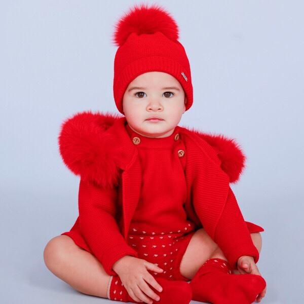 Rahigo Red Fur Coat & Hat Set