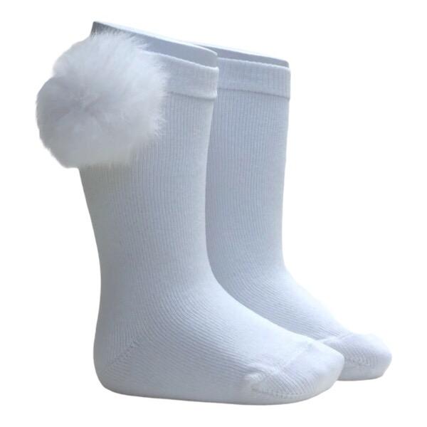 Meia Pata Fur Pom Pom Socks, White