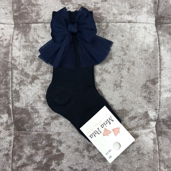 Meia Pata Tulle Bow Socks, Navy