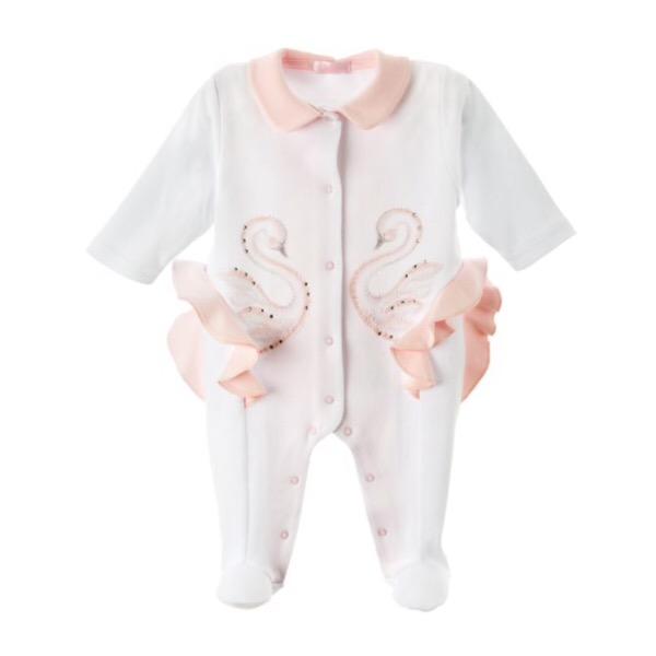 Sofija White & Pink Swan Babygrow