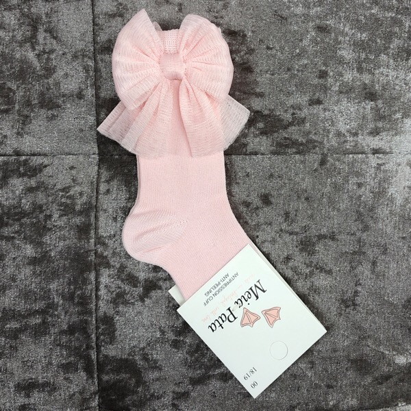 Meia Pata Tulle Bow Socks, Pink