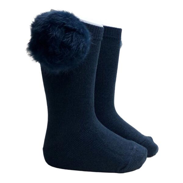 Meia Pata Fur Pom Pom Socks, Navy