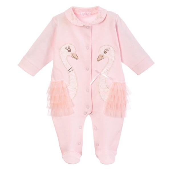 Sofija Pink Swan Babygrow