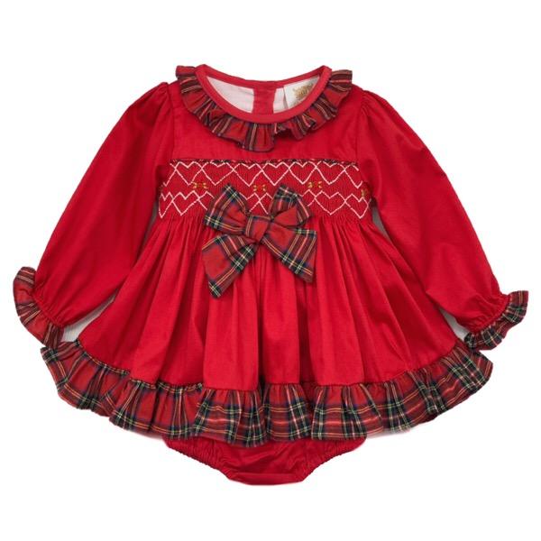 Caramelo Red Smocked Baby Pj Set