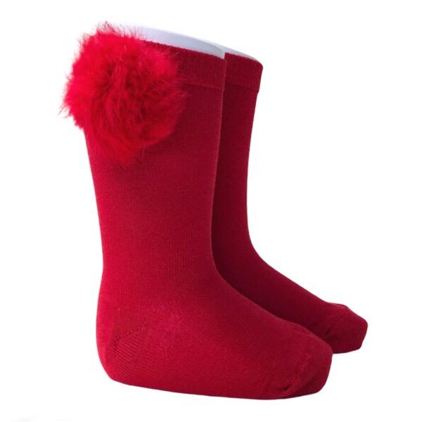 Meia Pata Fur Pom Pom Socks, Red