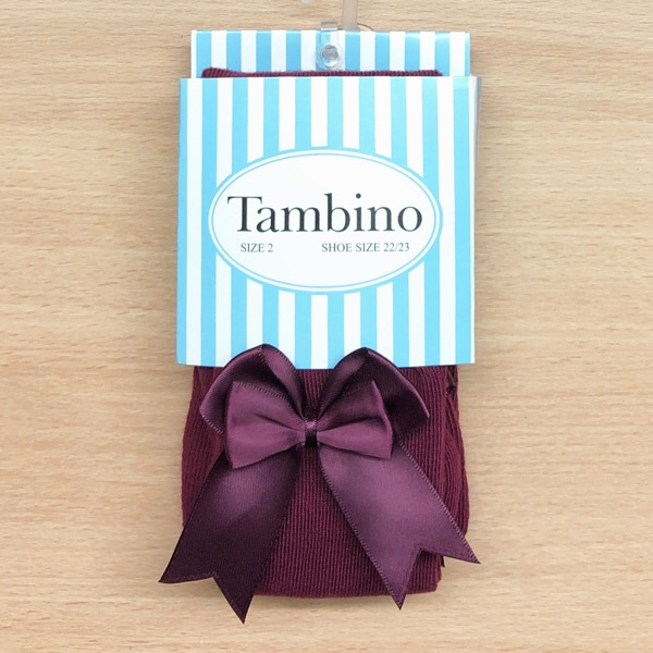 Tambino Double Satin Bow Tights, Burgundy