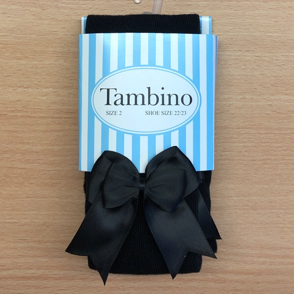 Tambino Double Satin Bow Tights, Black
