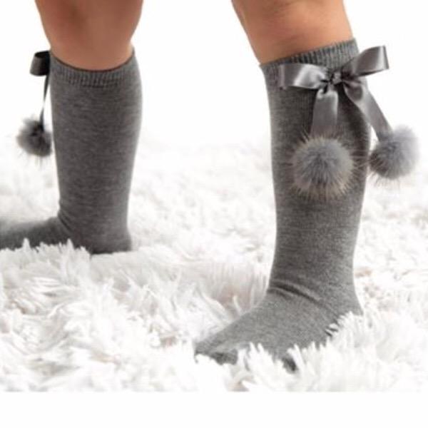 Meia Pata Mink Bow Socks, Grey