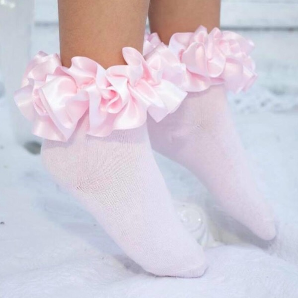 Caramelo Kids Ankle Ruffle Socks, Pink