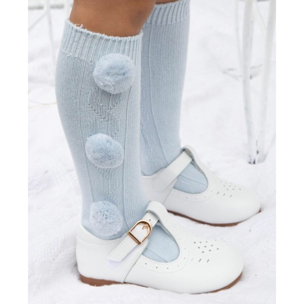 Caramelo Knee High Pom Pom Socks, Blue