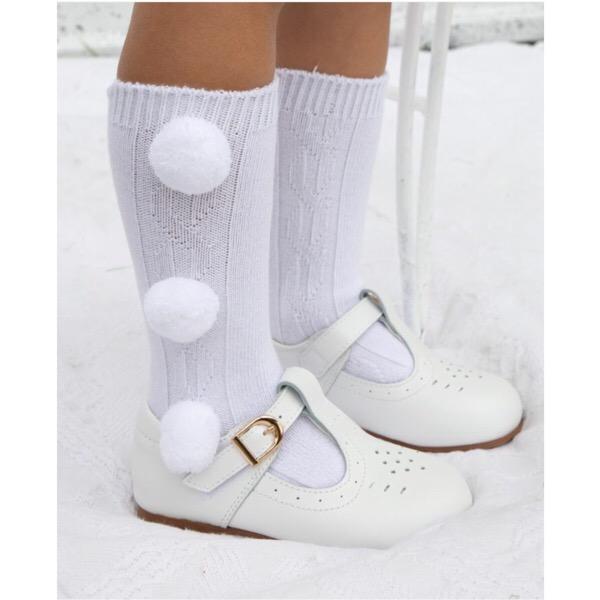 Caramelo Kids Knee High Pom Pom Socks, White