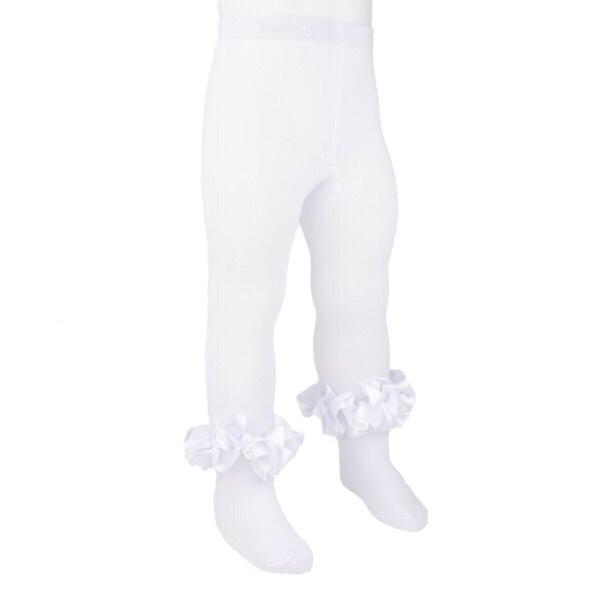 Caramelo Satin Ruffle Tights, White
