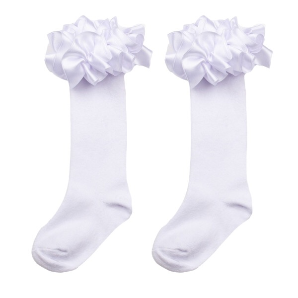 Caramelo Knee High Ruffle Socks, White