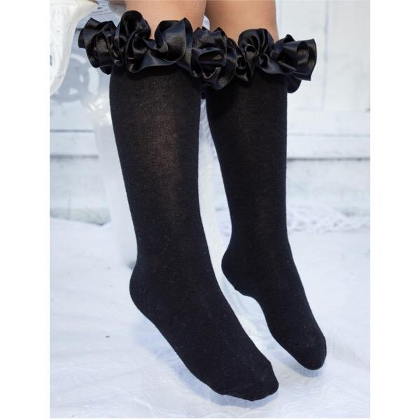 Caramelo Kids Satin Knee High Ruffle Socks, Black