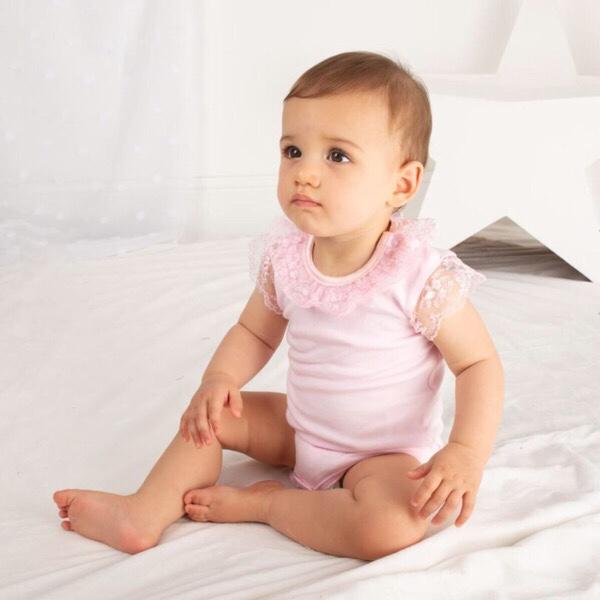 Caramelo Lace Trim Bodysuit, Pink