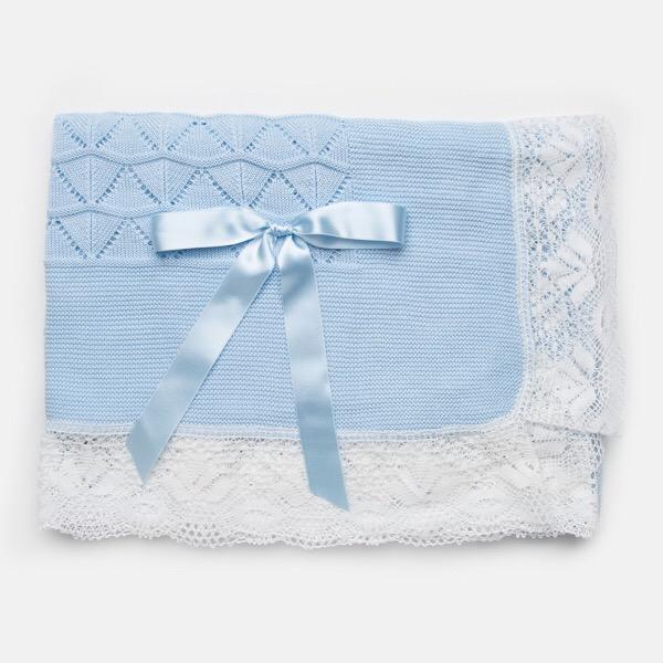Juliana Crochet Lace Shawl, Blue
