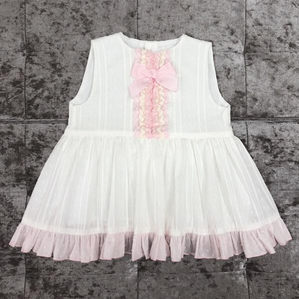 Eva Cream & Pink Girls Dress