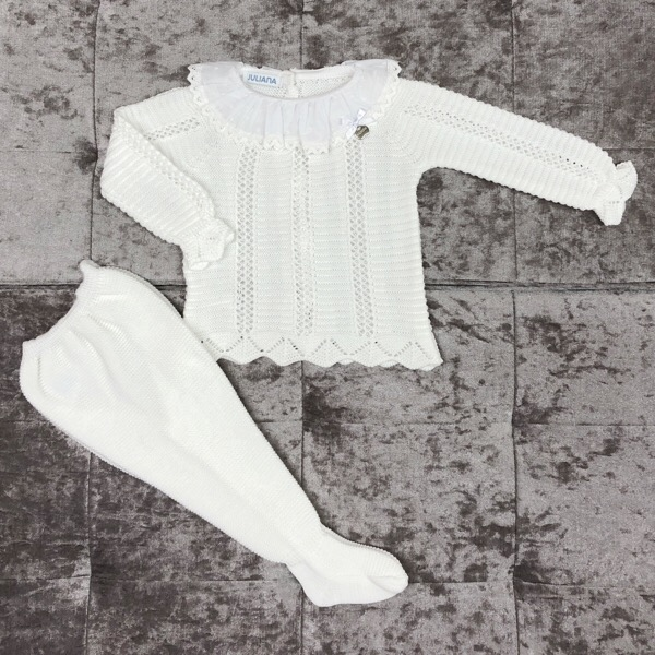 Juliana Ladder Knit 3 Piece Set, White
