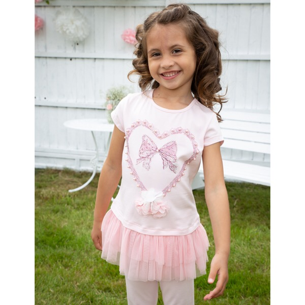 Caramelo Kids Heart Legging Set, Pink