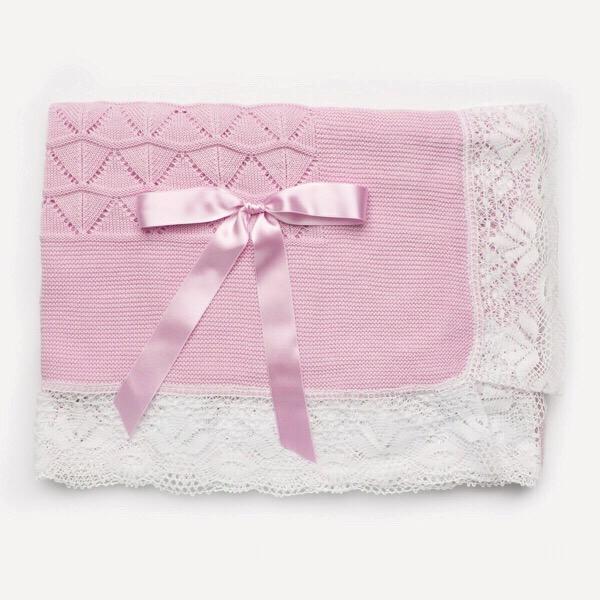 Juliana Crochet Lace Shawl, Pink