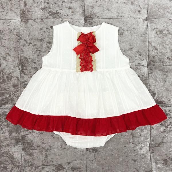 Eva Cream & Red Baby Dress Set