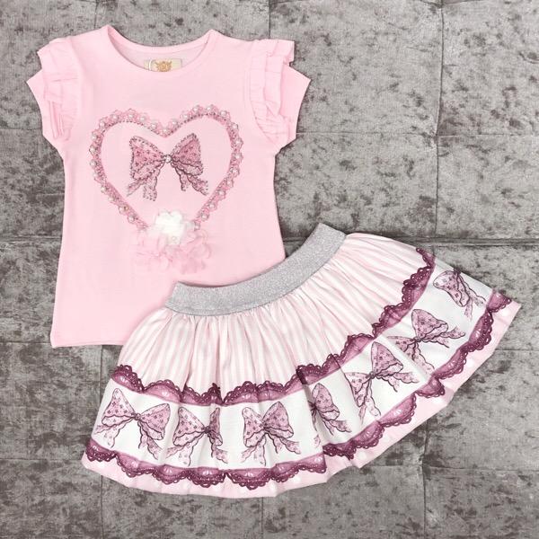 Caramelo Kids Heart Skirt Set