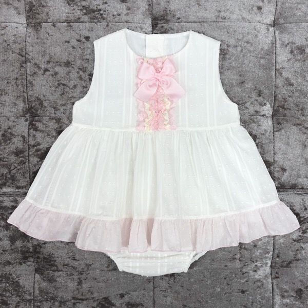 Eva Cream & Pink Baby Dress Set