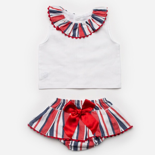 Juliana Red & Navy Stripe Skirt Set