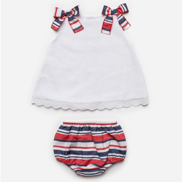 Juliana Red & Navy Stripe Dress Set
