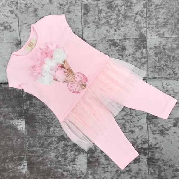 Caramelo Kids Bouquet Legging Set, Pink