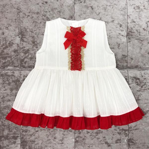 Eva Cream & Red Girls Dress