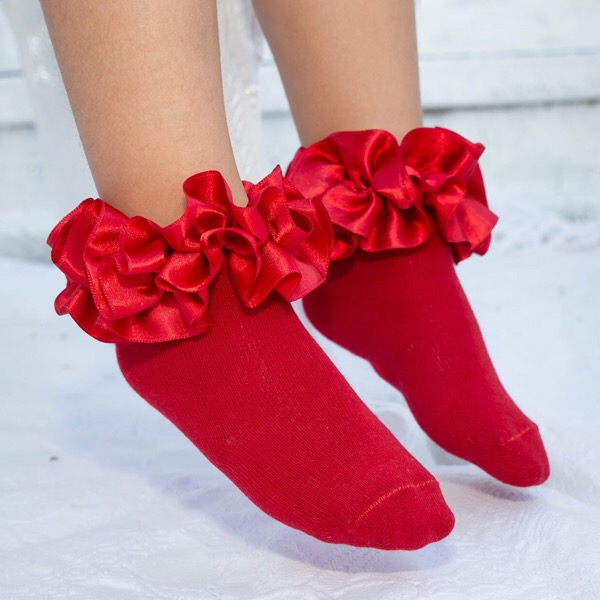 Caramelo Ankle Ruffle Socks, Red