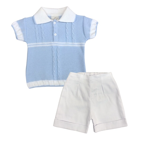 Pretty Originals Blue & White Cotton Short Set