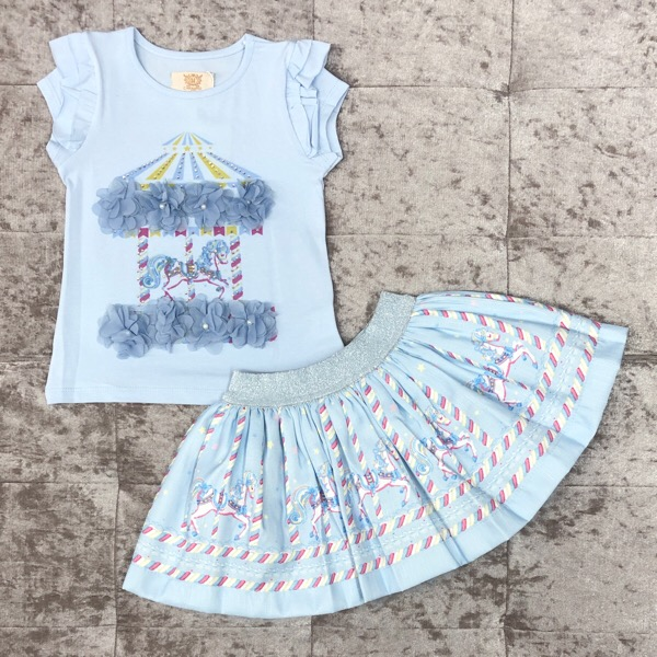 Caramelo Kids Carousel Skirt Set, Blue