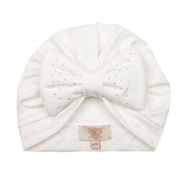 Caramelo Crystal Bow Turban, Ivory