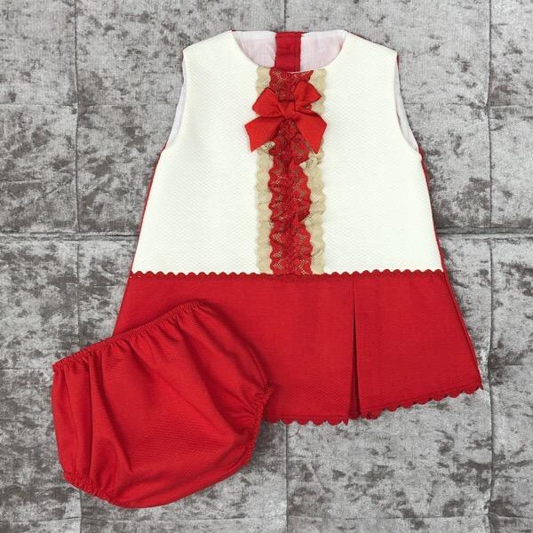 Eva Red A-Line Baby Dress Set