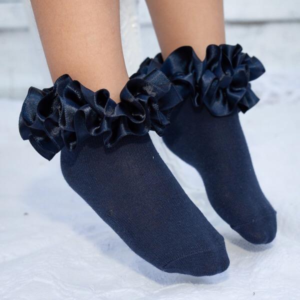 Caramelo Ankle Ruffle Socks, Navy