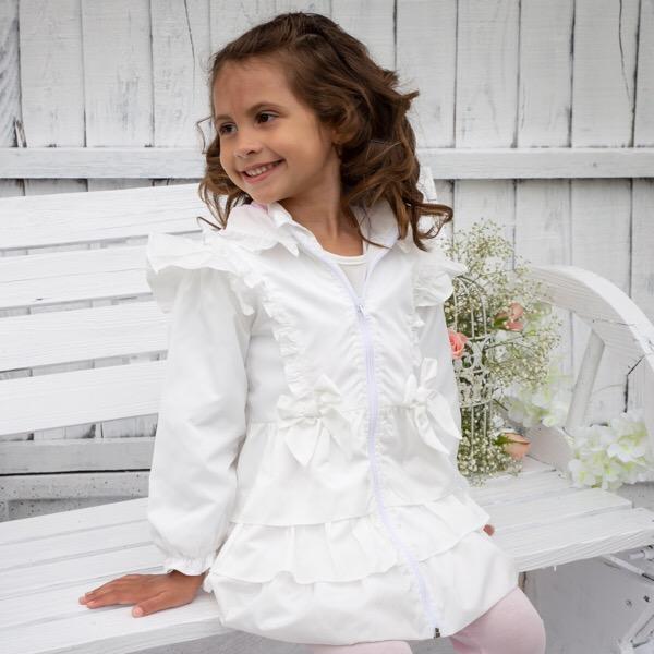 Caramelo Ruffle Coat, White