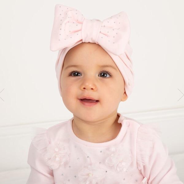 Caramelo Crystal Bow Turban, Pink