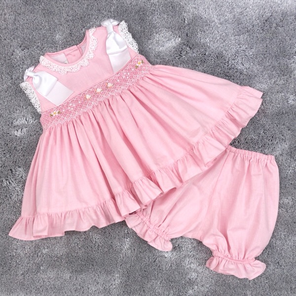 Pretty Originals Ribbon Smocked Dress, Pink