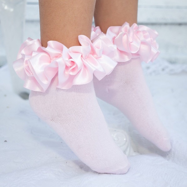 Caramelo Ankle Ruffle Socks, Pink