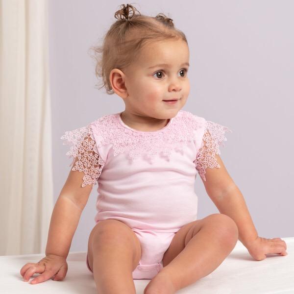 Caramelo Crochet Lace Bodysuit, Pink