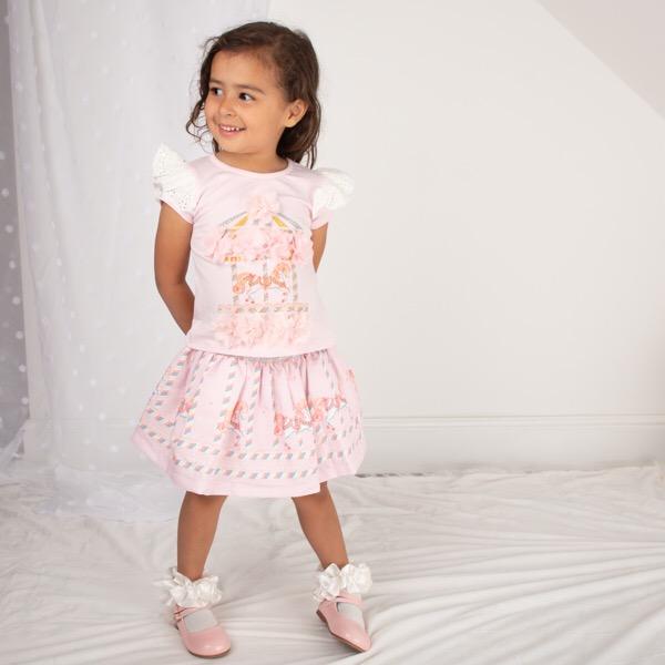 Caramelo Carousel Skirt Set, Pink