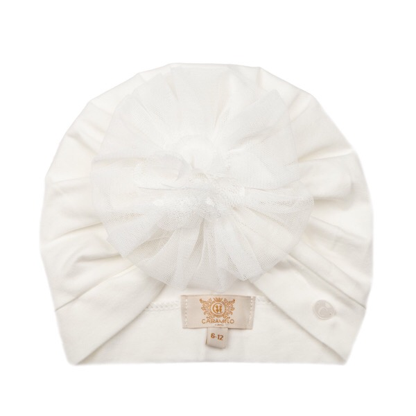 Caramelo Tulle Flower Turban, Ivory