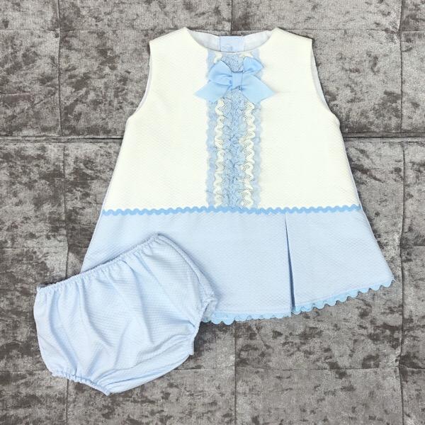 Eva Blue A-Line Baby Dress Set