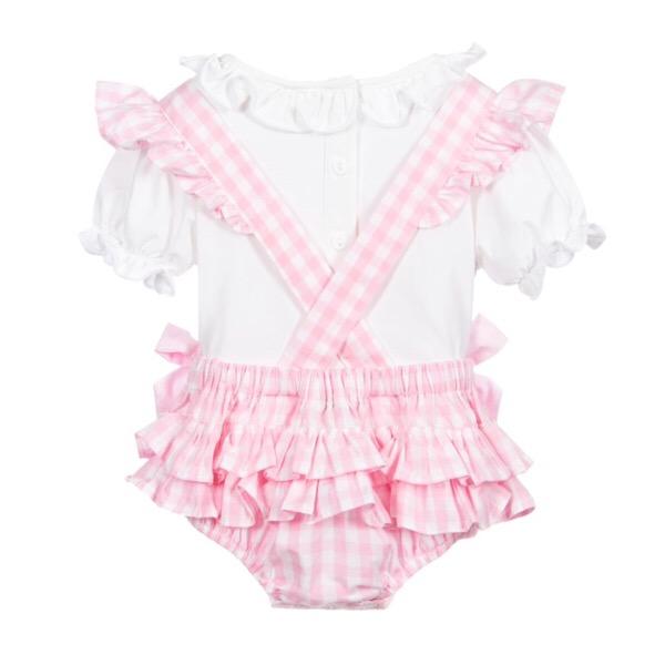 Caramelo Gingham Romper Set, Pink