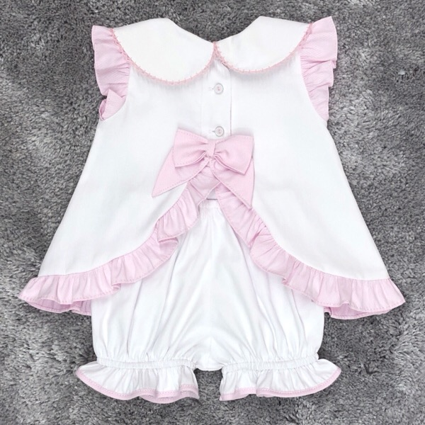 Pretty Originals White & Pink Bow Dress
