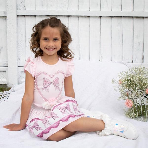 Caramelo Pink Heart Skirt Set