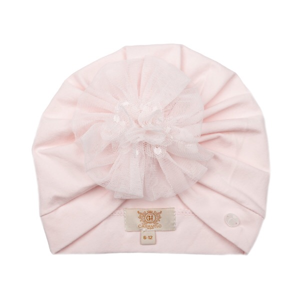 Caramelo Tulle Flower Turban, Pink